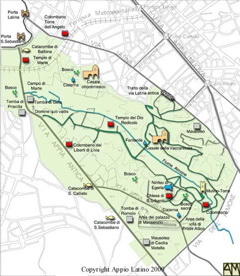 Cartina delle emergenze archeologiche vicino l'Appia Antica